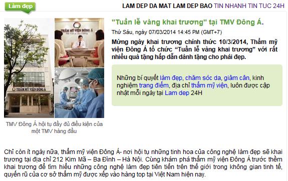 Báo chí nói về Thẩm mỹ viện Đông Á 2